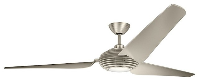 Kichler Voya 84 Fan Led, Brushed Stainless Steel, Clear Champagne.