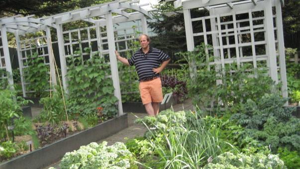 Peter Atkins in a vegetable Garden we built