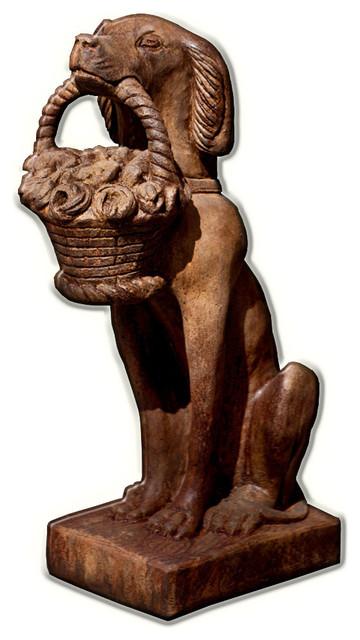 Beau Vintage Dog With Basket Cast Stone Garden Statue