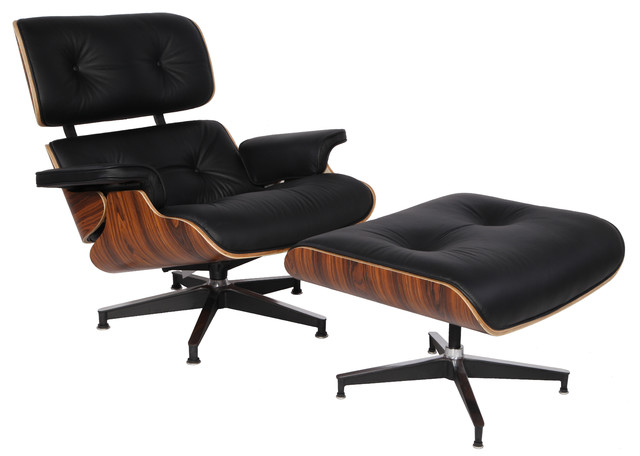 Plywood lounge chair real leather contemporary indoor for Black chaise lounge indoor
