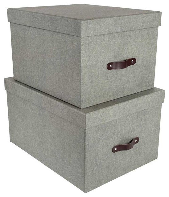 Stackable Boxes With Lids, Gray.