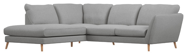 Jasper Light Gray Bumper Chaise Sectional, Left Facing.