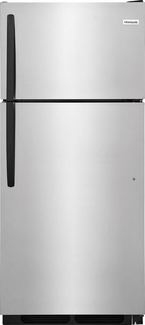 "Frigidaire 28"" Top Freezer Refrigerator In Stainless Steel."