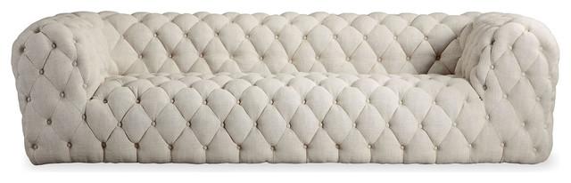 Cumulus Midcentury Modern Tufted Sofa, Urban Hemp, Material: Twill.