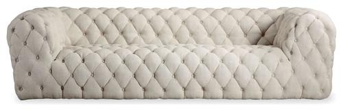 Cumulus Midcentury Modern Tufted Sofa, Urban Hemp, Material: Twill