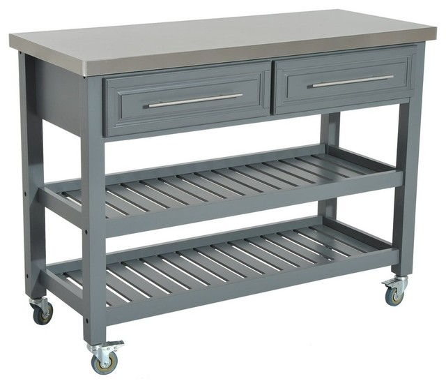 Rolling Kitchen Cart With Stainless Steel Top 2 Drawer And 2 Open Shelves