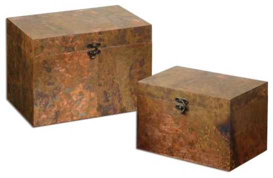 Uttermost Ambrosia Copper Boxes, Set Of 2 Traditional Decorative Boxes
