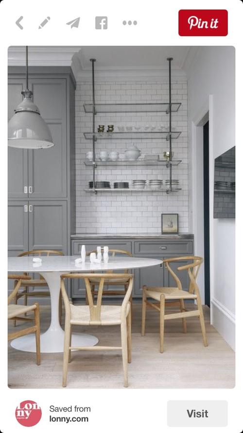 Attractive Hanging Metal Shelves Kitchen