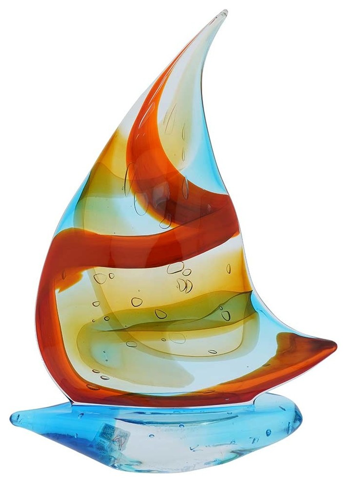 Murano Art Glass Large Sailboat Rainbow Beach Style Decorative Objects And Figurines By Glassofvenice