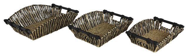 Rectangular Black and Natural Striped Palm Leaf Seagrass Basket Trays, Set of 3