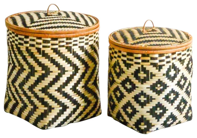 Set of Two Bamboo Baskets with Lids