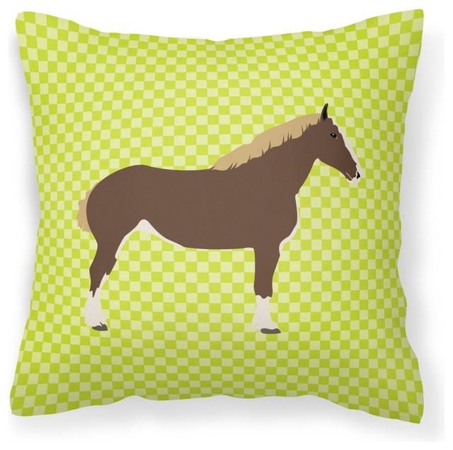 Percheron Horse Green Fabric Decorative Pillow