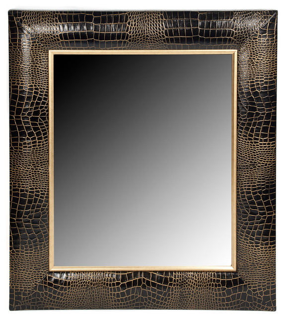 Black Croc Leather Framed Mirror With Hand Painted Gold Tipping