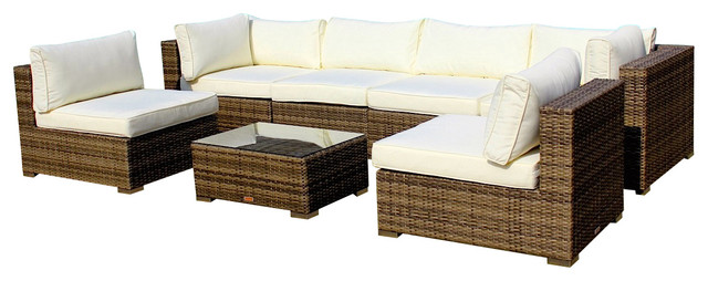 Gut Outdoor Patio Furniture Sofa All Weather Wicker Sectional 7 Piece Couch Set