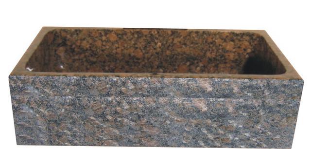 "Single Bowl Granite Farm Basin With Chiseled Apron, 33""x19""."