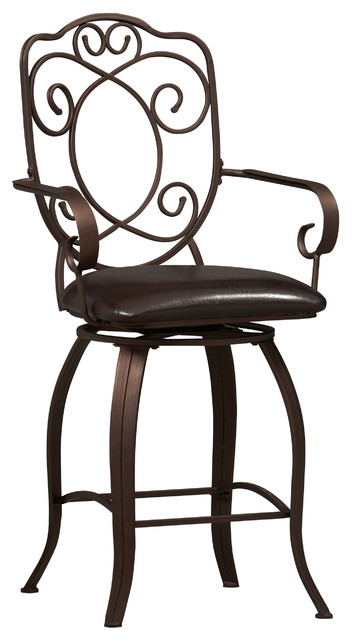 Crested Back Counter Stool, 24 by Linon Home Decor Products