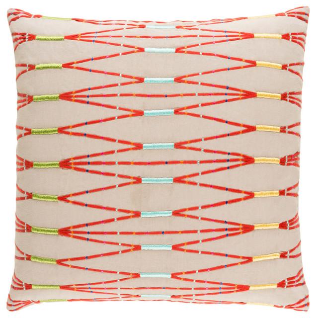 "Kikuyu Decorative Pillow, Taupe and Bright Orange, 18""x18""x4"", Down Insert"