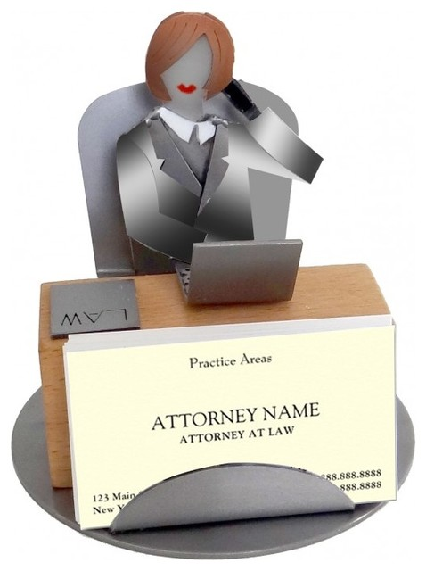 Female Attorney Business Card Holder Metal Figurine Eclectic Desk Accessories By H K Sculptures