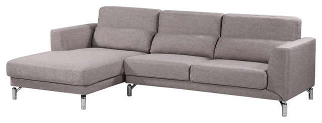 Aria Fabric Modern Sectional Sofa With Left- Facing Chaise, Brown