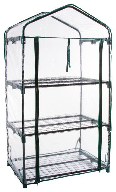 Pure Garden 3 Tier Mini Greenhouse With 3 Shelves 27.5x19x50 Inches.