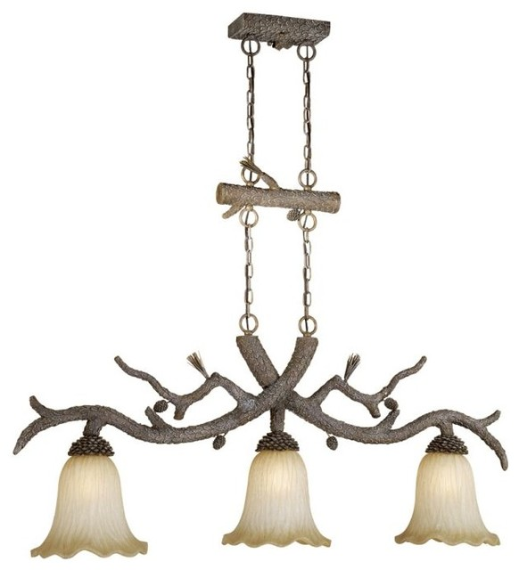 Pine Tree Aspen Snow Island Chandelier With Brushed Amber