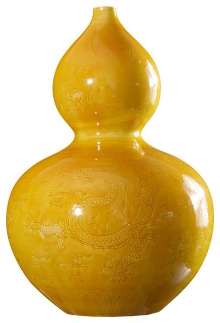 Cala Global Bazaar Turquoise Dragon Glazed Double Gourd Vase Asian
