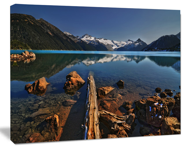 Large Logs In Mountain Lake Extra Large Landscape Canvas Art Print 20 X12