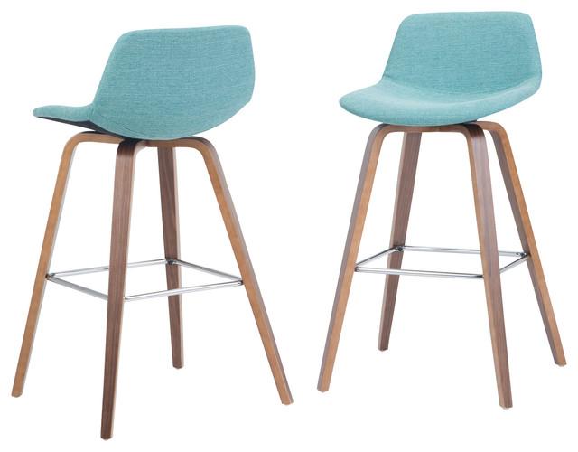 Remarkable Randolph Bentwood Counter Stool Set Of 2 Aqua Blue Linen Look Fabric Cjindustries Chair Design For Home Cjindustriesco