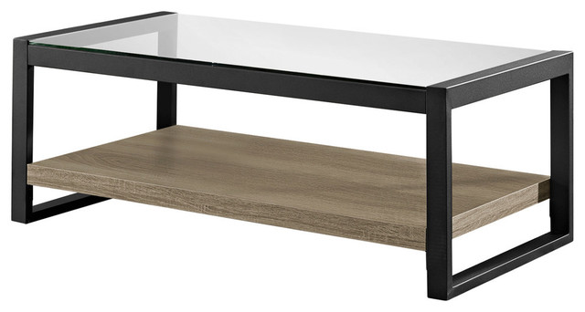 "48"" urban blend coffee table with glass top, driftwood/black"