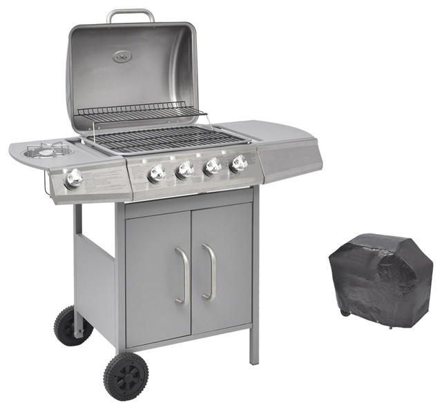 Gas Barbecue Grill With 4 Burners and 1 Side Burner, Silver