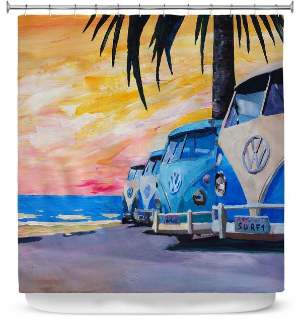 DiaNoche Designs Shower Curtain By Markus Bleichner Blue VW Bus Line