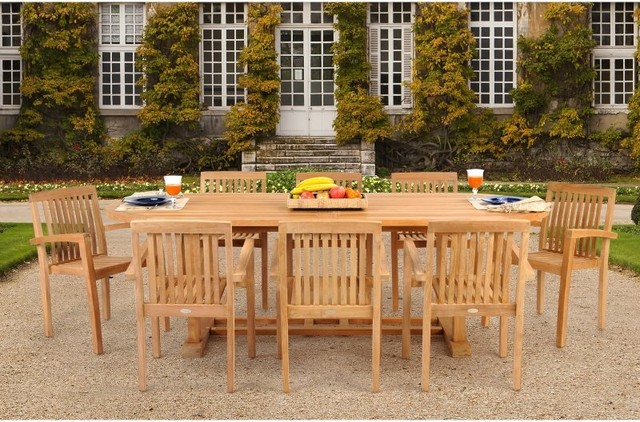 Caluco Teak Oval Extension Patio Dining Set With Stacking Chairs Seats 8 Multi Contemporary Furniture And Outdoor By Hayneedle