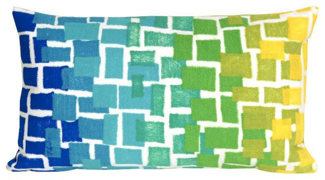 "Visions II Ombre Tile Pillow, Blue, 12""x20"", Blue, 12""x20"""