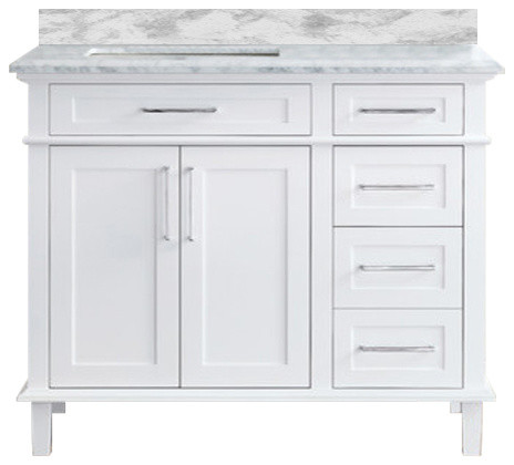 "Malibu Single Sink Bathroom Vanity, White, 42""."