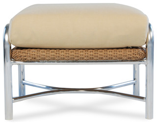 Lloyd Flanders Weekend Retreat Ottoman In Clover Finish & Cha Cha Willow Fabric