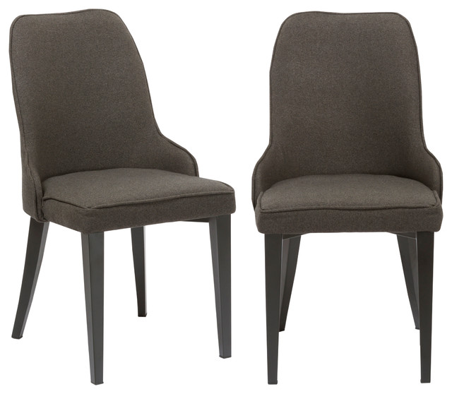 Btexpert Fabric Upholstery Dining Chairs, Set Of 2, Steel, Dark Gray.