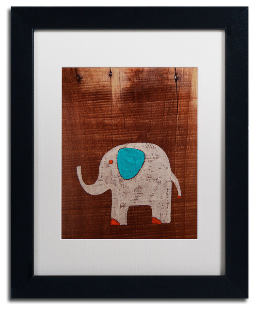 Trademark fine art 39 elephant on wood 39 matted framed canvas art by nicole dietz view in your - Modern kids wall decor ...