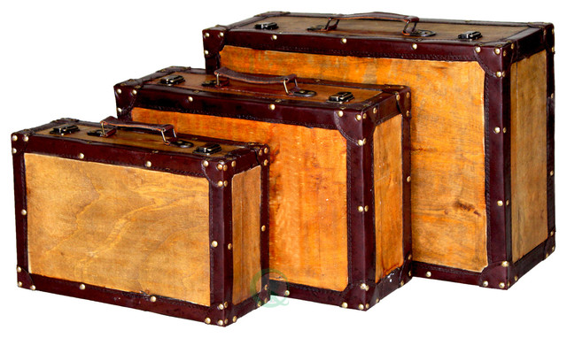 Old Vintage Suitcase, Set of 3 - Decorative Trunks - by Vintique Wood