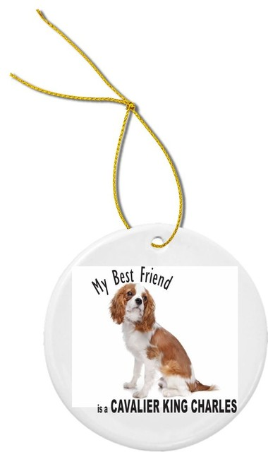 Best Friend Brown White Cavalier King Charles Round Porcelain Christmas Ornament