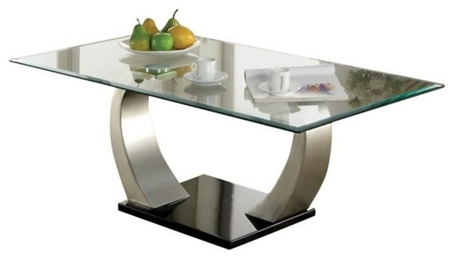 Bowery Hill Glass Top Coffee Table, Satin.