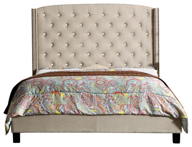 Martins Upholstered Panel Bed, Beige, Queen