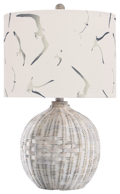 White Rattan Table Lamp, Natural With Wash, White, Seagull Print