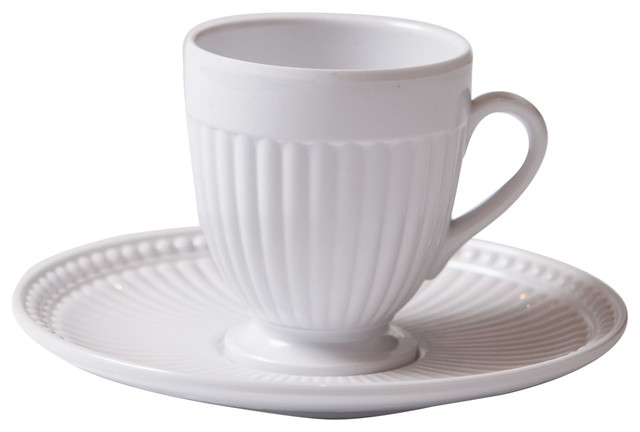 Shatterproof Coffee Cups With Saucers, Set of 2, White