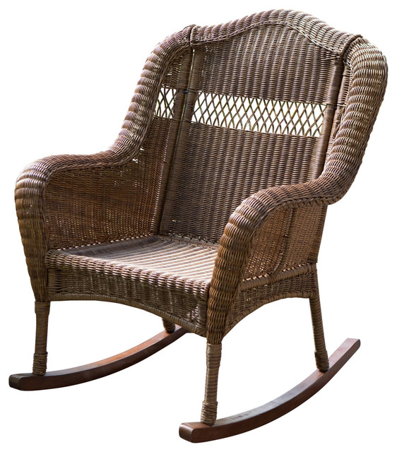 quality design 246aa d7142 Indoor/Outdoor Patio Porch Walnut Resin Wicker Rocking Chair