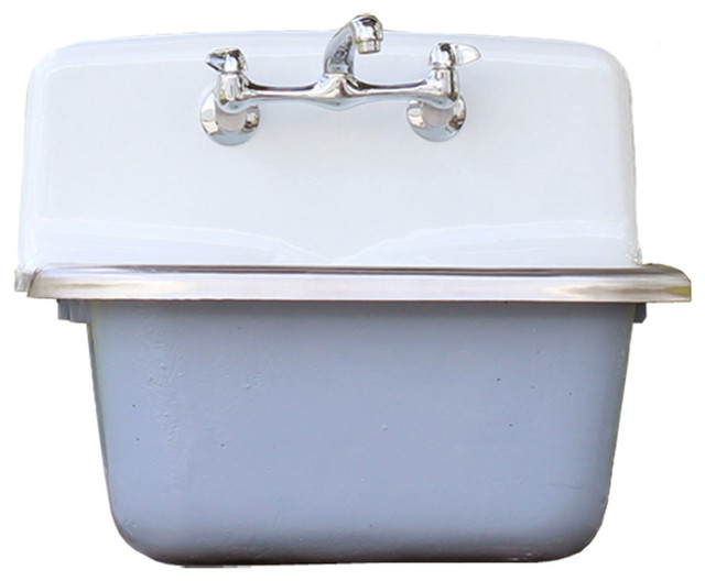 Deep Vintage Style Wall Utility Sink Cast Iron Orig Porcelain Wdgewood Blue  Set Contemporary Utility