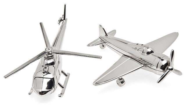 Godinger Airplane/chopper Salt And Pepper, 2 Piece Set.