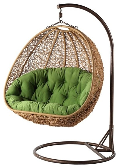 Perfect Rey Double Wide Rattan Hanging ChairModernArmchairs And