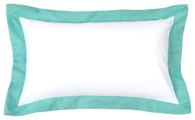 """Powder Blue Flange Sham Pillow Cover, 12""""x20""""."""