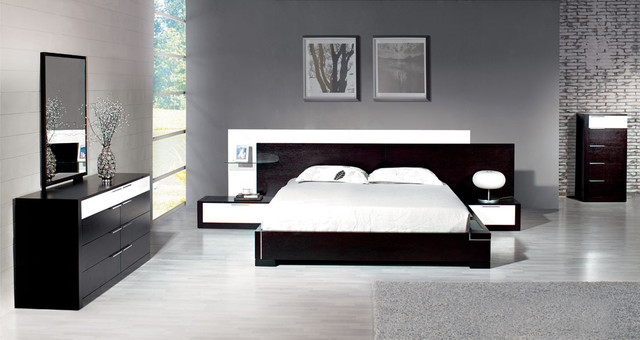 Contemporary Bedroom Set London Black By Acme Furniture: Stylish Wood Elite Modern Bedroom Set Feat. Light