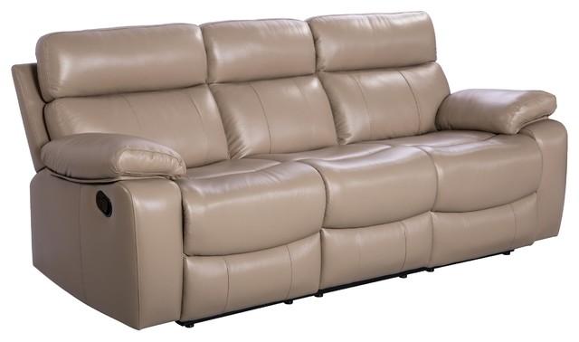 Abbyson Living Pederson Leather Reclining Sofa, Beige